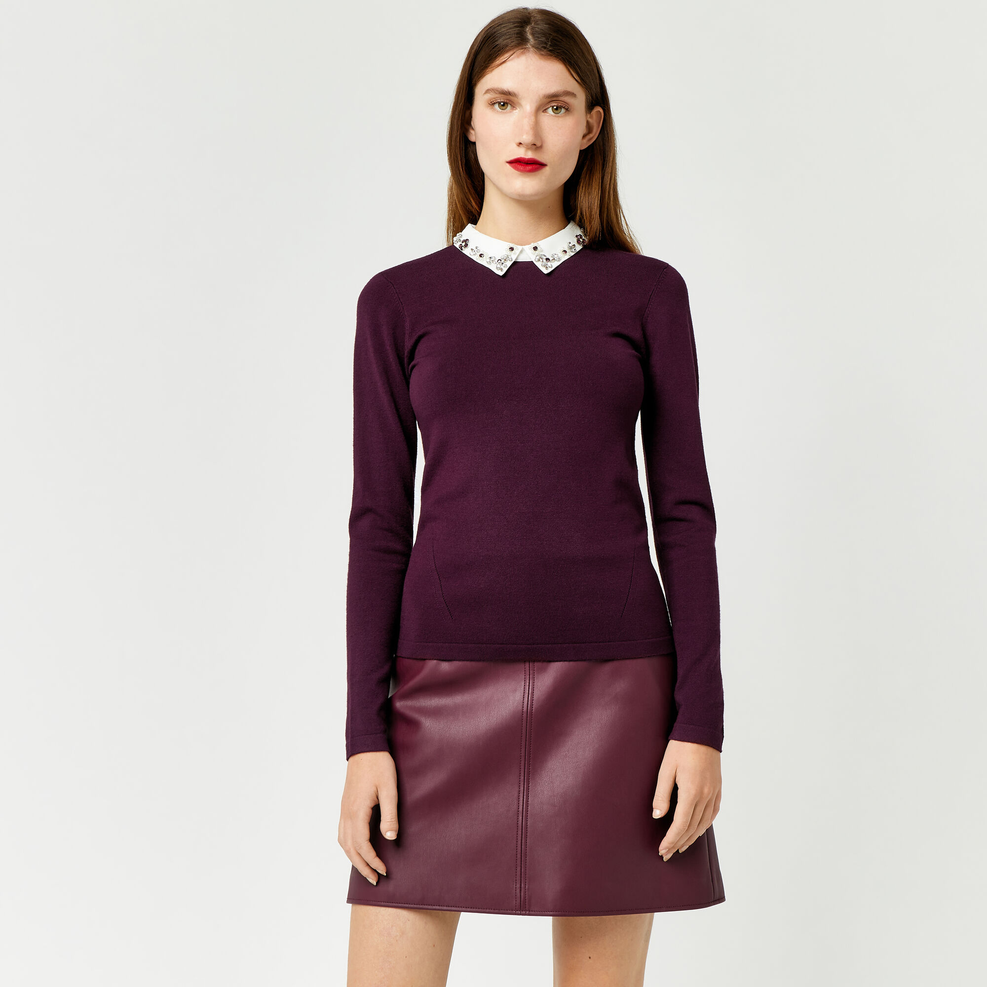 Warehouse, EMBELLISHED COLLAR JUMPER Berry 1
