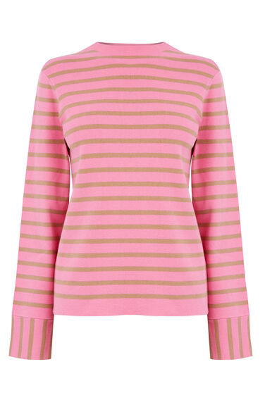Warehouse, STRIPE HIGH NECK JUMPER Pink Stripe 0