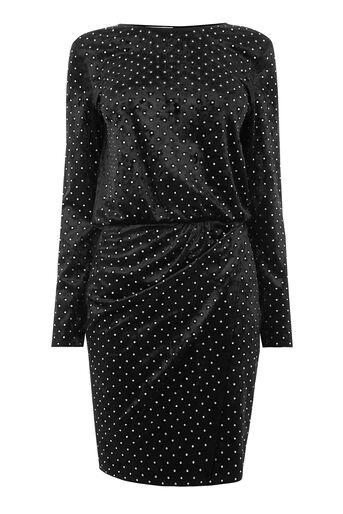 Warehouse, DIAMANTE HOT FIX VELVET DRESS Black 0