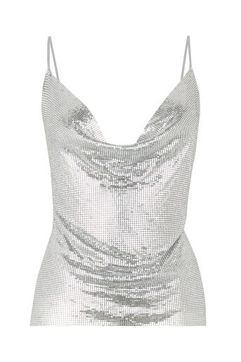 Warehouse, CHAIN MAIL TOP Silver Colour 0