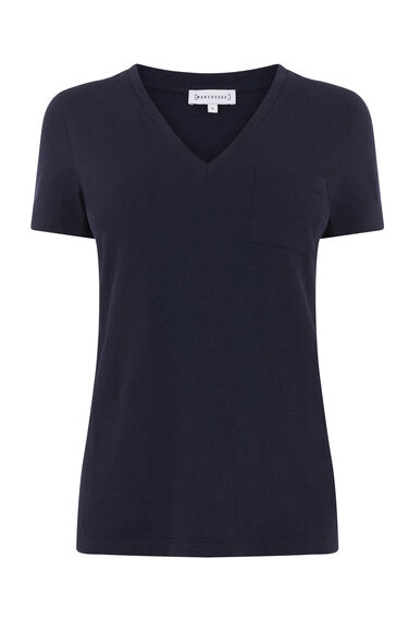 Warehouse, V NECK SLUB TEE Navy 0