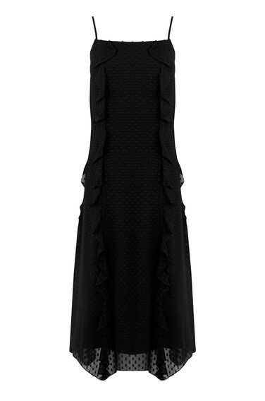 Warehouse, RUFFLE SPOT MIDI DRESS Black 0