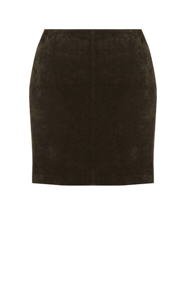 Warehouse, Suede Pelmet Skirt Khaki 0