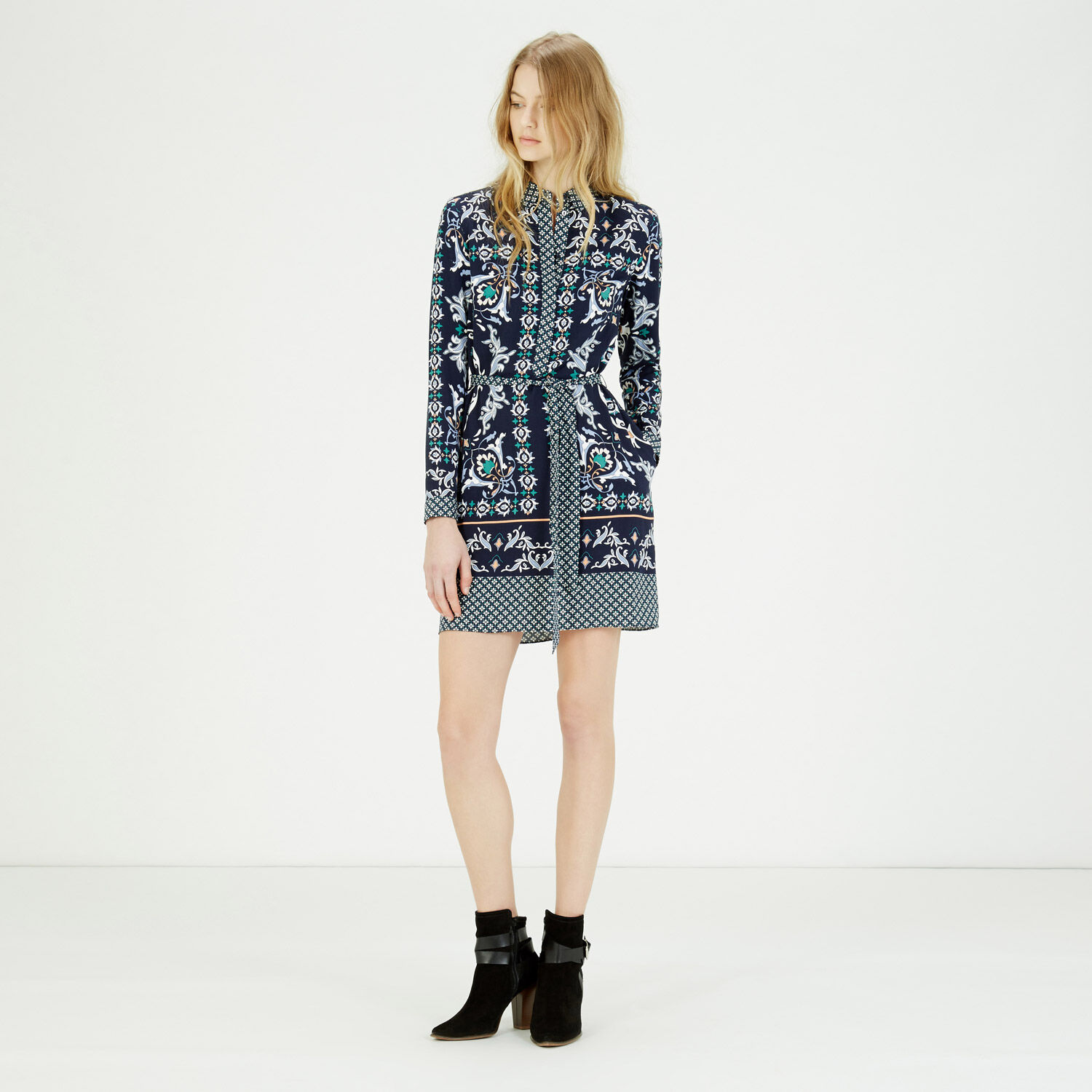 Warehouse, Persian Print Shirt Dress Blue Pattern 1