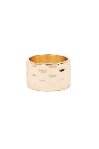Warehouse, WIDE HAMMERED RING Gold Colour 0