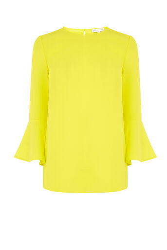 Warehouse, FLUTED SLEEVE CRINKLE TOP Yellow 0