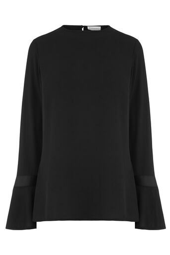 Warehouse, GROSGRAIN FLARED CUFF TOP Black 0