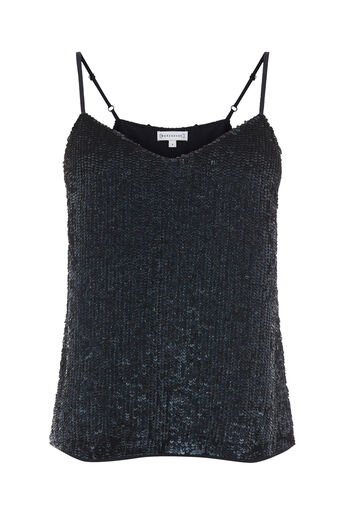 Warehouse, SEQUIN CAMI Navy 0