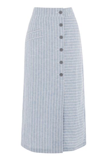 Warehouse, LINEN MIX STRIPE SKIRT Blue Stripe 0