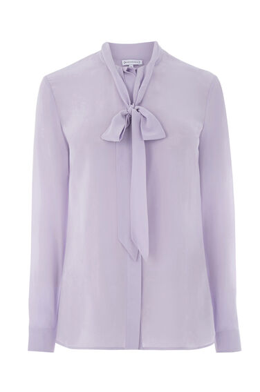 Warehouse, SILK TIE NECK BLOUSE Lilac 0