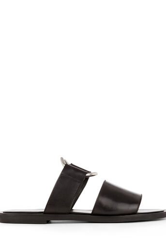 Warehouse, RING DETAIL LEATHER SANDALS Black 0