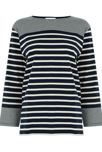 Warehouse, ENGINEERED STRIPE TOP Navy 0