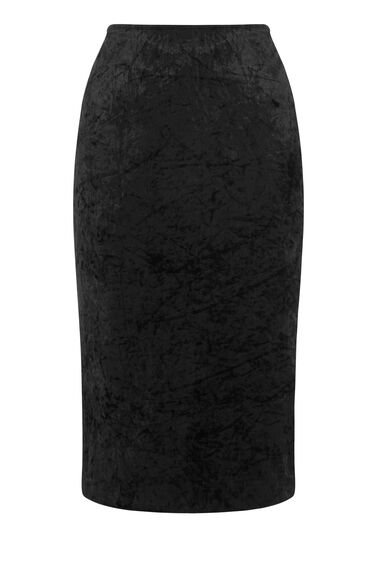 Warehouse, VELVET PENCIL SKIRT Black 0