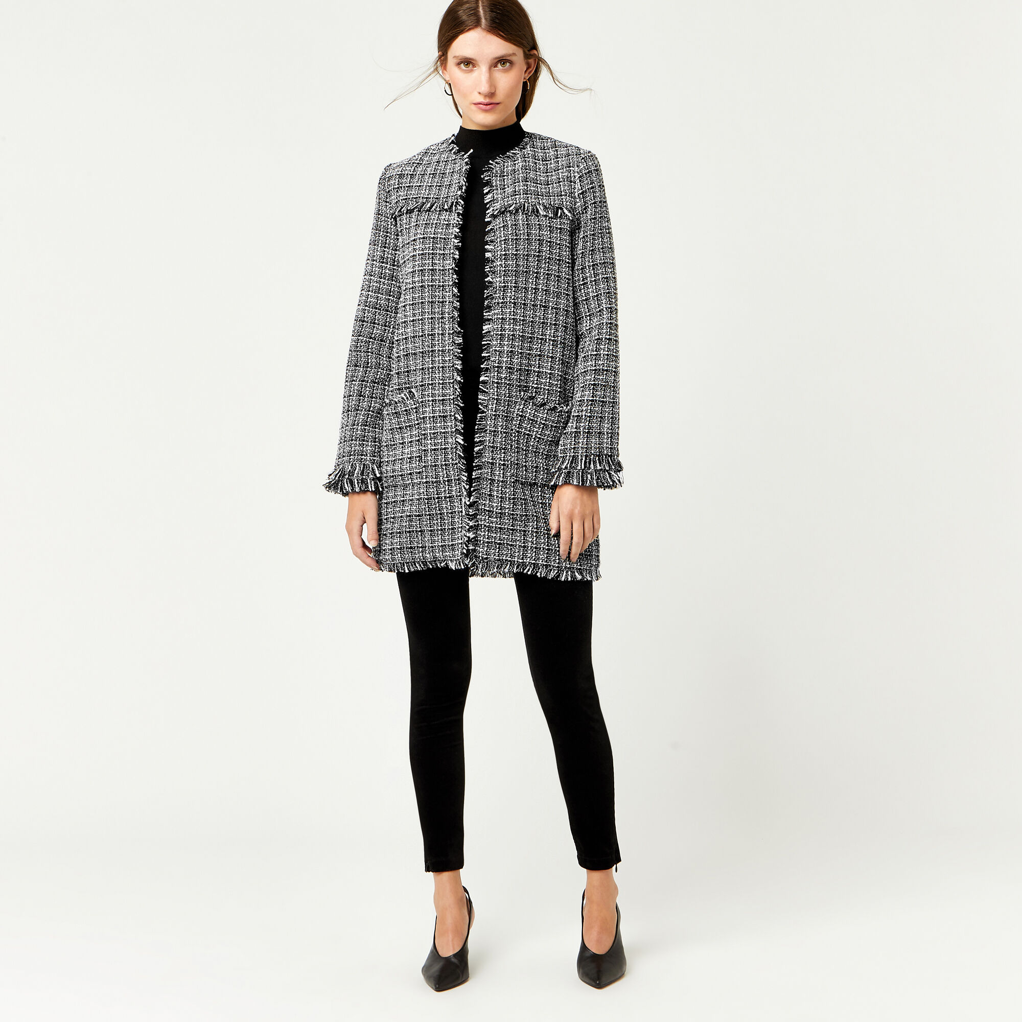 Warehouse, MONO TWEED LONG LINE JACKET Black Pattern 1