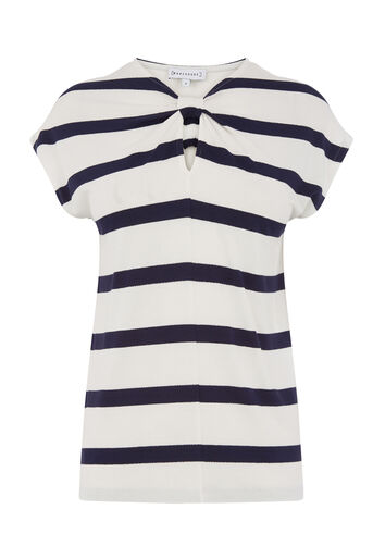 Warehouse, WIDE STRIPE KNOT NECK TEE Blue Stripe 0