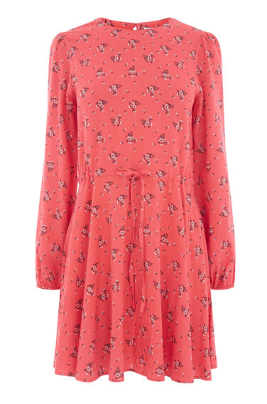 Warehouse, DAISY BUNCH SKATER DRESS Pink Pattern 0