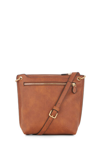 Warehouse, DOUBLE ZIP CROSS BODY BAG Tan 0