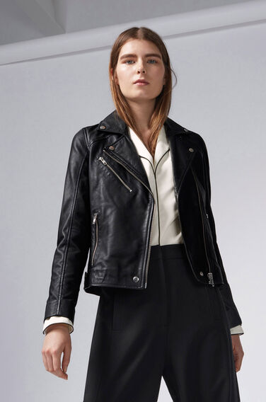 Warehouse, Leather Biker Jacket Black 1