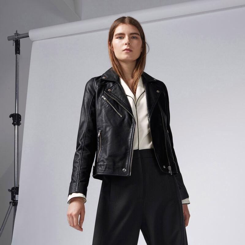 Warehouse, Leather Biker Jacket Black 1