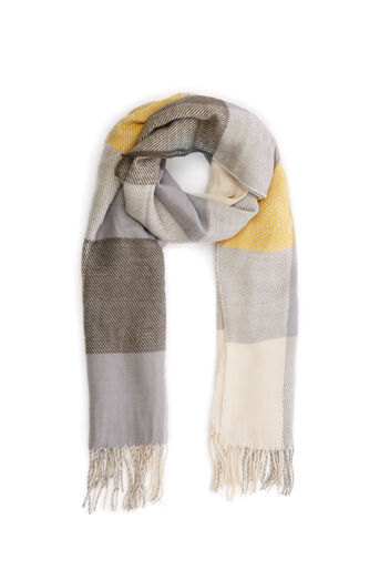 Warehouse, MIXED CHECK LARGE SCARF Khaki 0