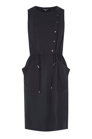 Warehouse, Utility Popper Dress Navy 0