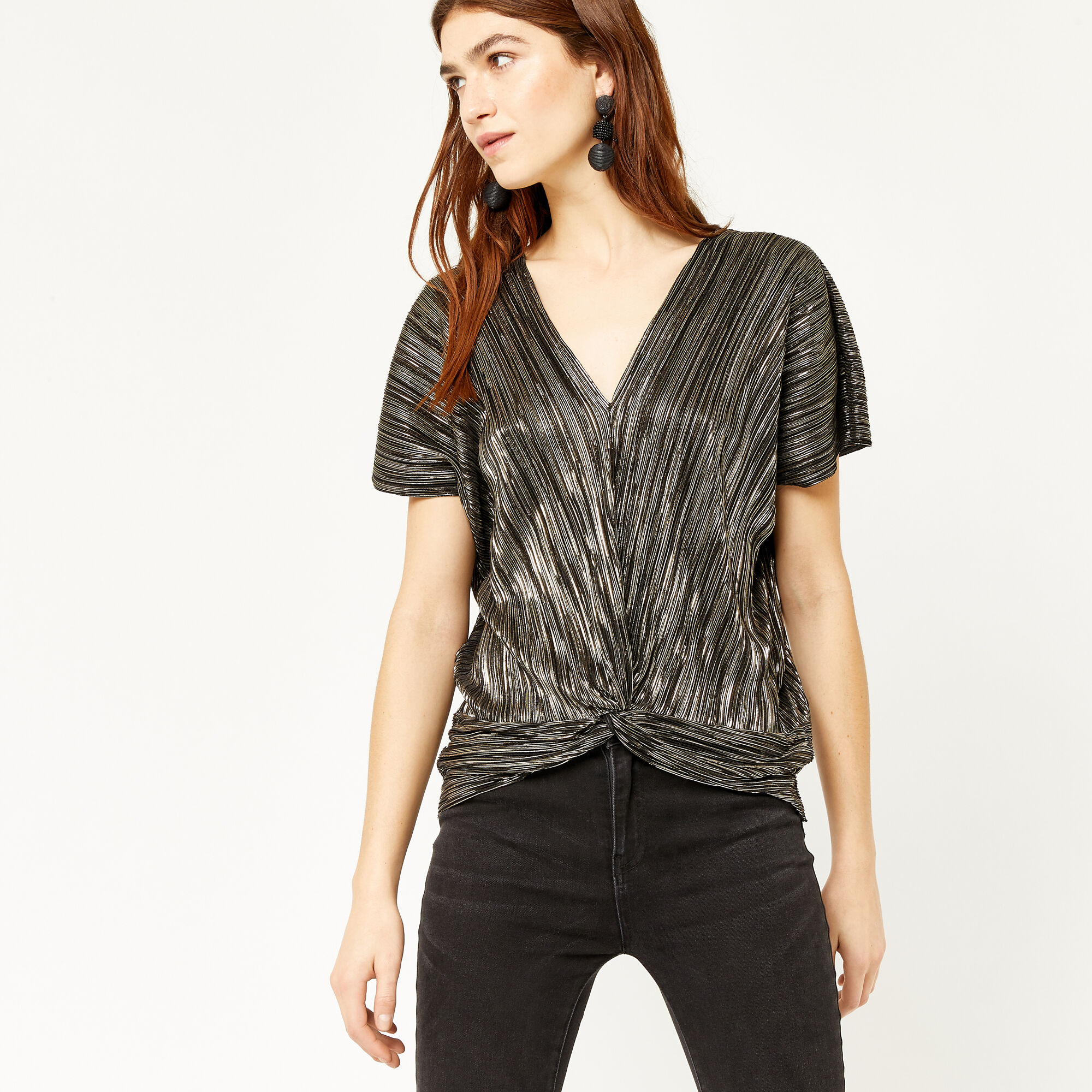 Warehouse, TWO WAY PLISSE KNOT FRONT TOP Gold Colour 1