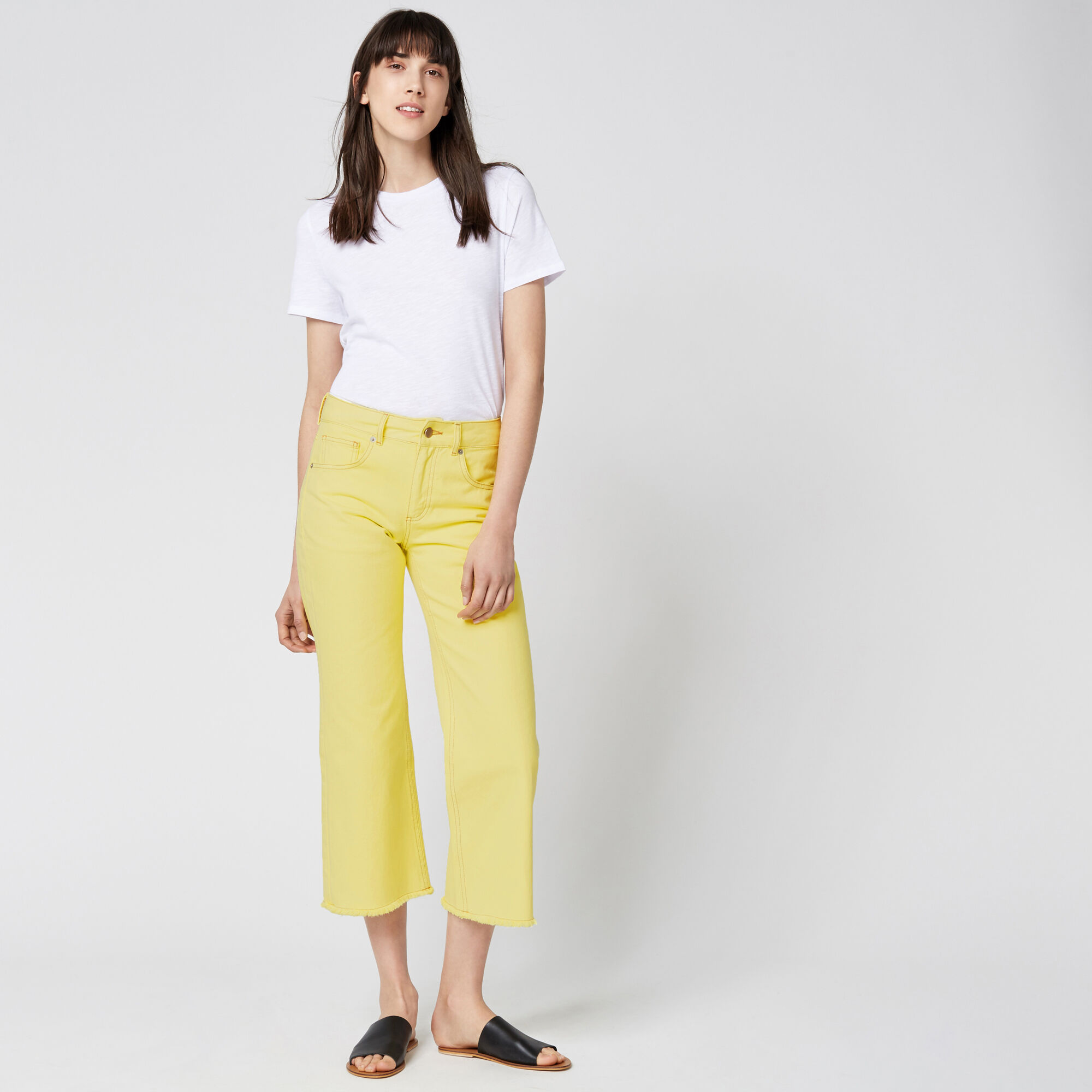 Warehouse, Cropped Flare Jeans Yellow 1