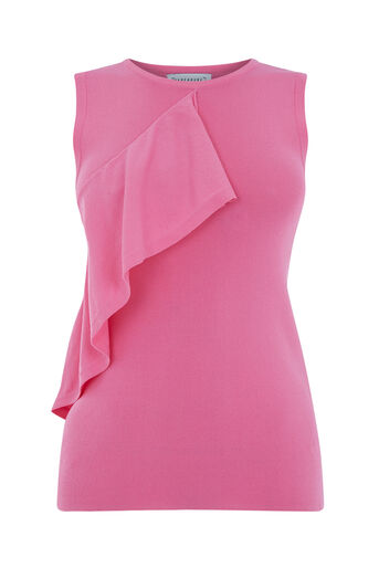 Warehouse, SLEEVELESS RUFFLE FRONT TOP Bright Pink 0