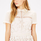 Warehouse, LACE SHIRT DRESS Cream 4
