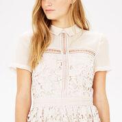 Warehouse, LACE SHIRT DRESS Cream 4