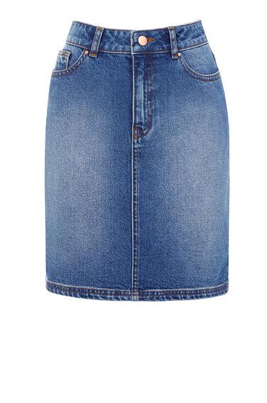 Warehouse, 5 Pocket Denim Skirt Light Wash Denim 0