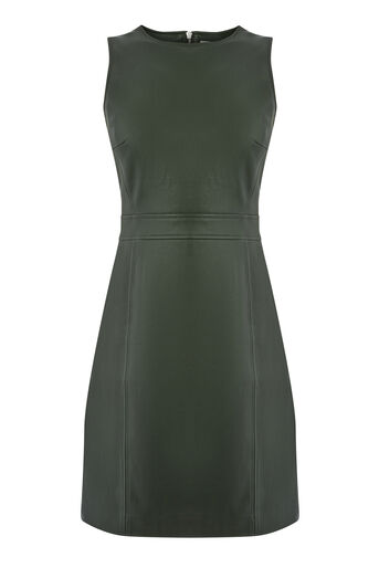 Warehouse, Faux Leather Dress Khaki 0