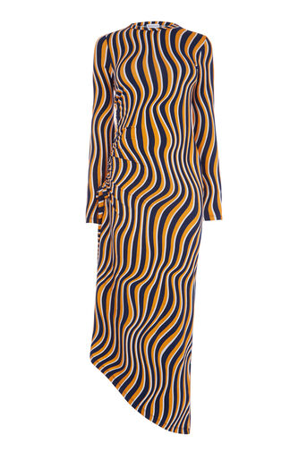 Warehouse, WARP PRINT RUCHE SIDE DRESS Multi 0