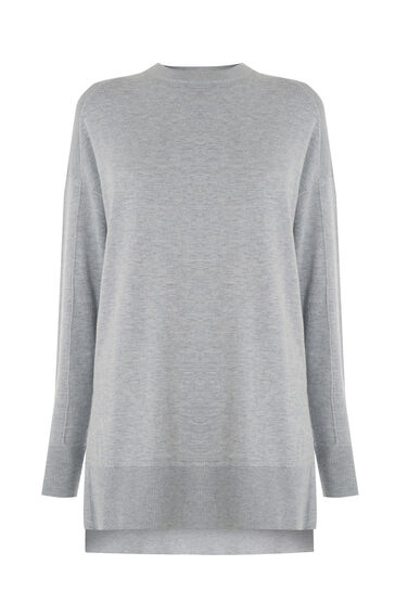 Warehouse, BOXY SPLIT SIDE CREW JUMPER Light Grey 0