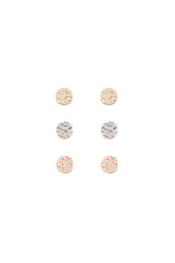 Warehouse, HAMMERED STUD TRIPLE EARRING Multi 0