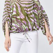 Warehouse, WARP PRINT RUCHED SLEEVE TOP Purple Pattern 4