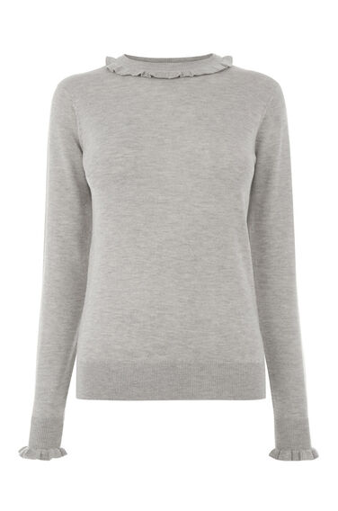Warehouse, Frill Neck And Cuff Jumper Light Grey 0