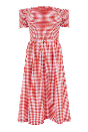 Warehouse, GINGHAM SMOCKED DRESS Red Pattern 0
