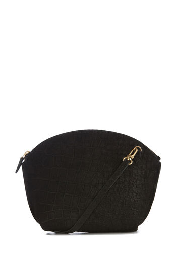 Warehouse, SUEDE CURVE TOP CROSSBODY BAG Black 0