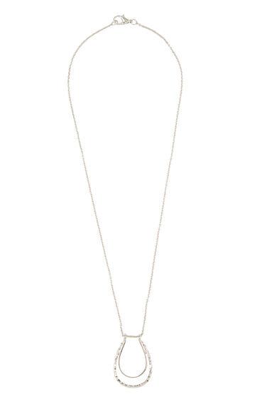 Warehouse, Short Double Loop Necklace Silver Colour 0