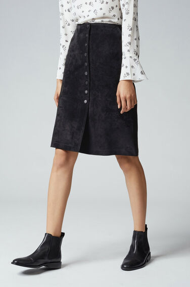 Warehouse, Suede Button Midi Skirt Black 0