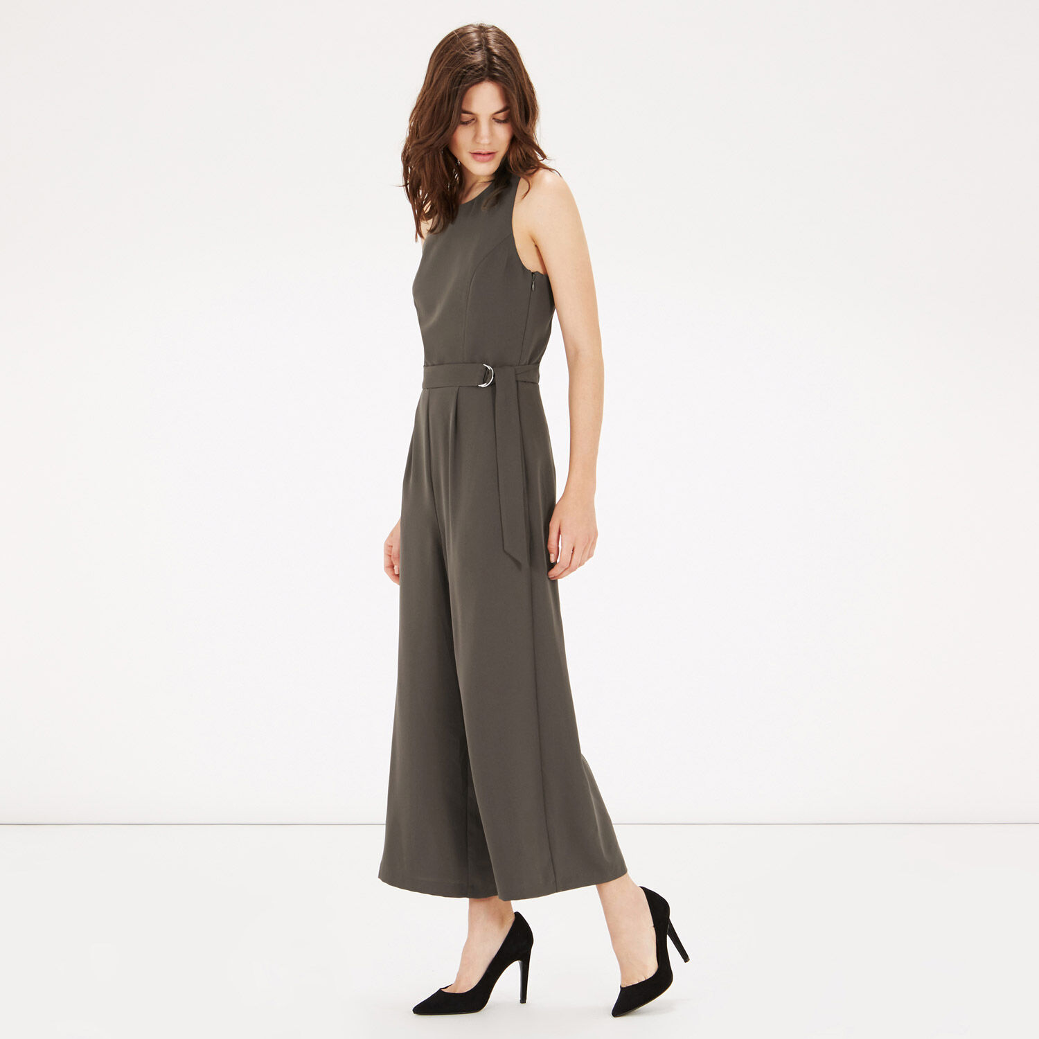 Warehouse, O-RING BELTED JUMPSUIT Khaki 1