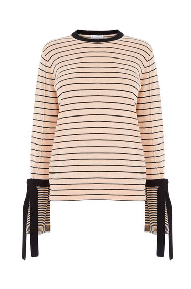 Warehouse, STRIPE TIE CUFF JUMPER Ecru 0