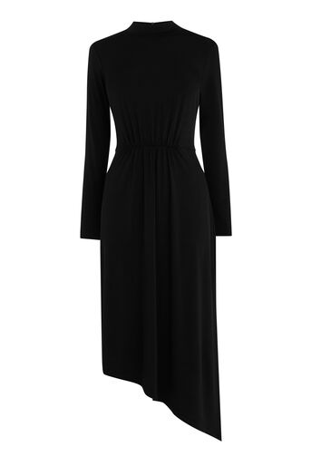 Warehouse, ASYMMETRIC HIGH NECK DRESS Black 0
