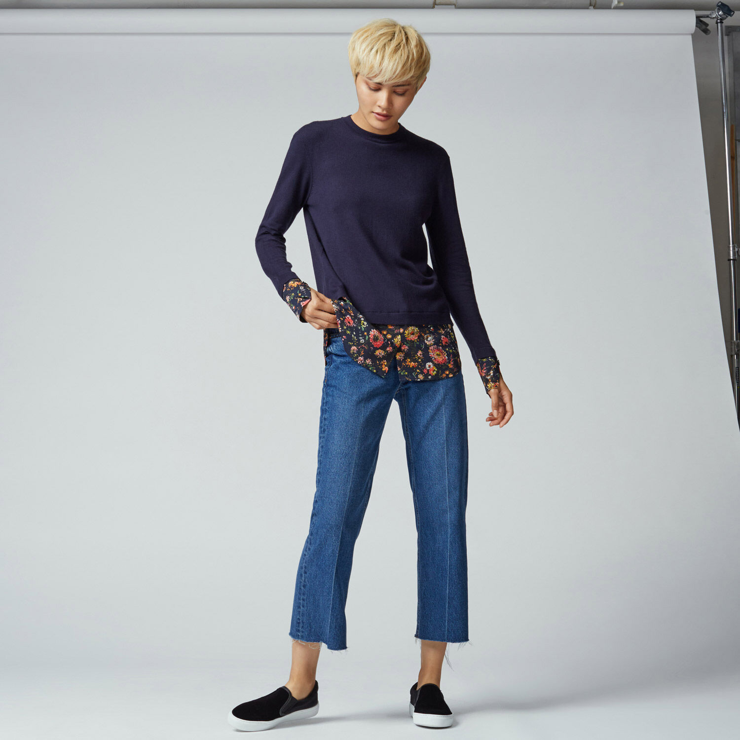 Warehouse, PAINTED FLORAL HYBRID JUMPER Navy 1