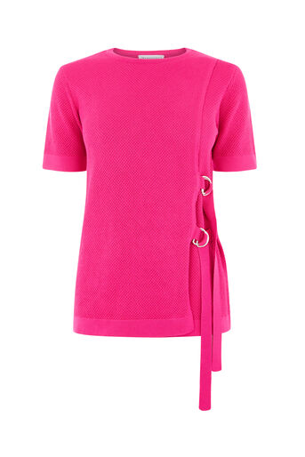 Warehouse, D RING TEXTURED TOP Bright Pink 0