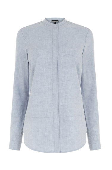 Warehouse, BRUSHED COTTON GRANDAD SHIRT Light Blue 0