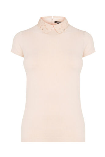 Warehouse, LACE COLLAR KNITTED TEE Light Pink 0