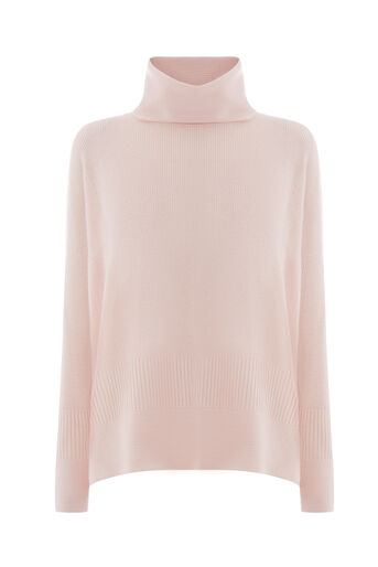 Warehouse, RIBBED BOXY COWL NECK JUMPER Light Pink 0