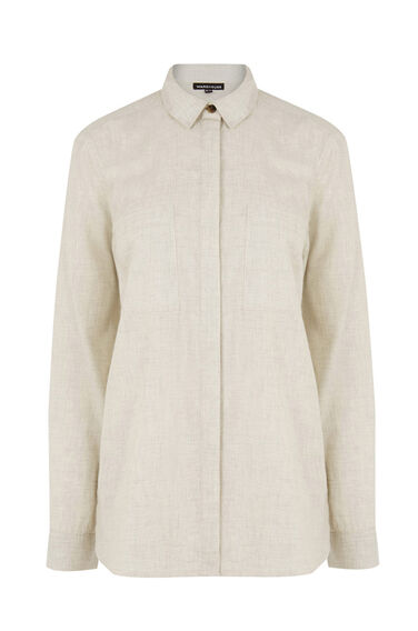 Warehouse, Relaxed Curved Hem Shirt Light Grey 0